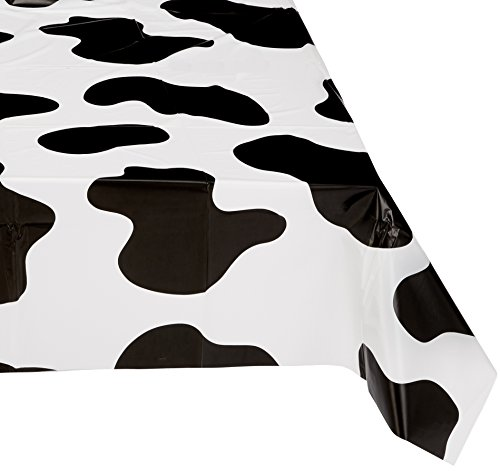 (Cow Print Plastic Tablecloth)