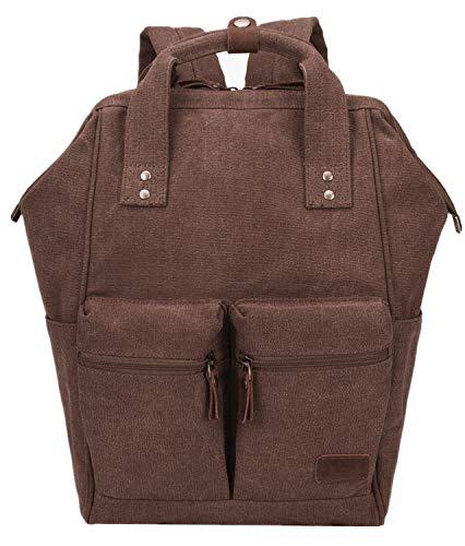 Laptop Backpack Women Men College Backpacks Canvas Multipurpose Travel Rucksack (168 Coffee)