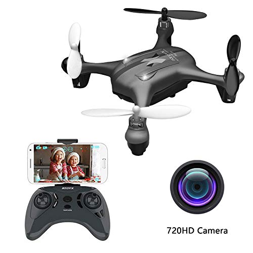 2019 Latest Mini Drones with Camera for Adults/Beginners 720P HD WiFi Real-time Video Feed, 2.4GHz 4CH 6-Axis Gyro Quadcopter, RC Helicopter Easy Fly is a Fun Gift for him(AT-96)