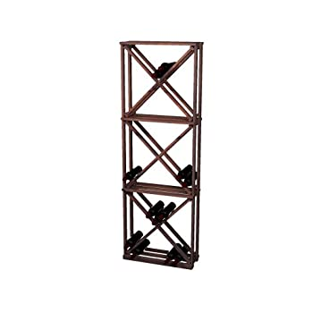 Image of Bottle Openers Wine Cellar Innovations Rustic Pine Open Diamond Cube Wine Rack for 132 Wine Bottles, Dark Walnut Stained