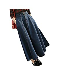 E.a@market Women's Vintage High Waist A-line Skirt Denim Bust Long Skirt