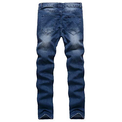 Slim Elasticizzati Alla Moda A Jeans Pantaloni Denim Uomo Strappati Vita Giovane Da Jean Dritti Fit Media qwtXU