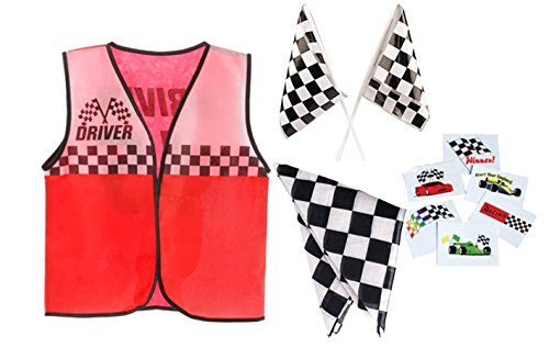 Race Car Driver Role Play Costume Set- Vest, Bandana, Flags, (Childs Racing Driver Costume)