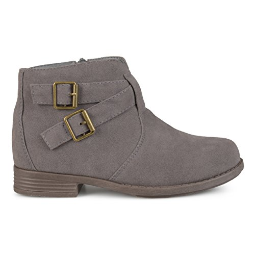 (Brinley Co. Kids Toddler Little Kids Ankle Strap Buckle Faux Suede Boots Grey, 3 Regular US)