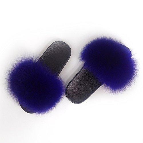 (Manka Vesa Women Winter Real Fox Fur Feather Vegan Leather Open Toe Single Strap Slip On Sandals Royal)