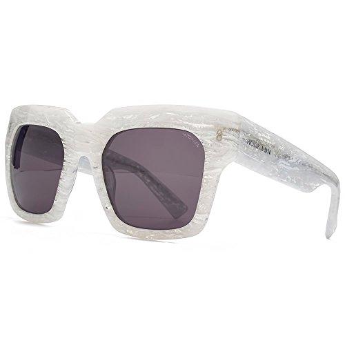 Hook LDN Genesis Premium carrés Chunky lunettes de soleil acétate en marbre blanc HK009-WHT Grey