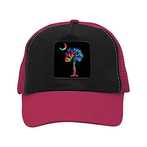 - FANZAO Palmetto Tree Tie Dye Baseball Hat Adjustable Mesh Trucker Cap for Unisex Wine red