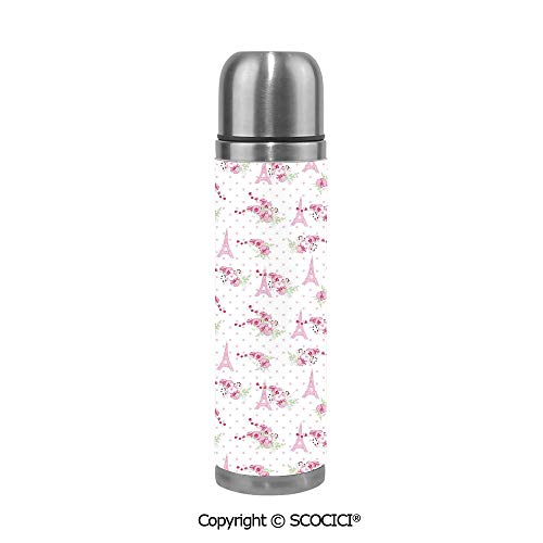Double Wall Vacuum Pot Insulated Stainless Steel Water Bottle Spring Inspiration Pink Flowers Bouquet And Paris Landmark On Polka Dots Decorative Thermos Cups Travel Mug -
