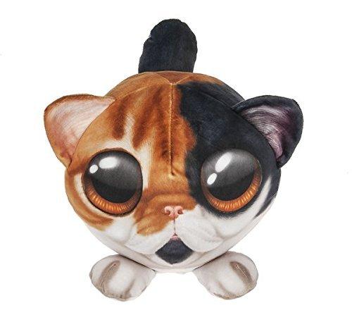 Ganz Piximals Calico Cat Stuffed Animal Plush Pillow with Big Eyes, 11 Inch Round