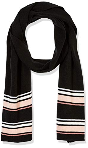 Under Zero Women's Black Pink Stripe Acrylic Knit Scarf ()