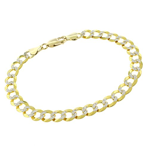 14k Yellow Gold 7mm Solid Cuban Curb Link Diamond Cut Two-Tone Pave Bracelet Chain 8'' by In Style Designz