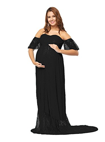 JustVH Women's Off Shoulder Ruffle Sleeve Lace Maternity Gown Maxi Photography Dress Black ()