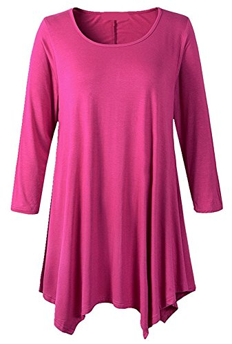 Abclothing Women's Casual Plain Long Sleeve Simple T-Shirt Loose Dress Rose (3/4 Sleeve Shirting Top)