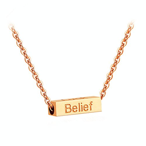 18K Stainless Steel Luck Wisdom Belief Courage Column Bar Clavicle Necklace Christmas Gift 17 - Co Popular Tiffany Most And