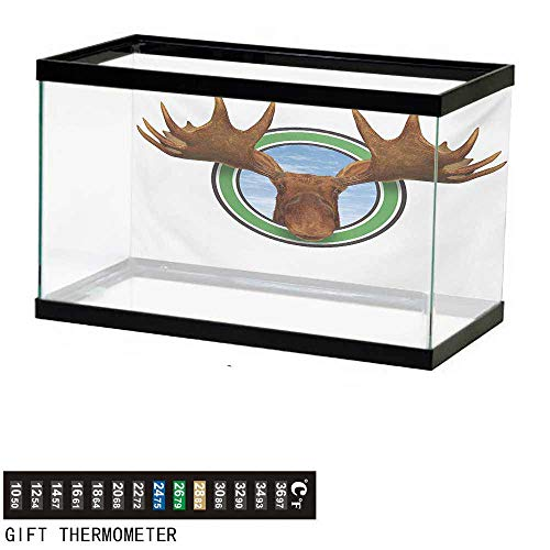 Aquarium Background,Moose,Symbolic Northern Fauna Icon with Deer Head Humorous Natural Preservation Image,Green Brown Fish Tank Backdrop 48