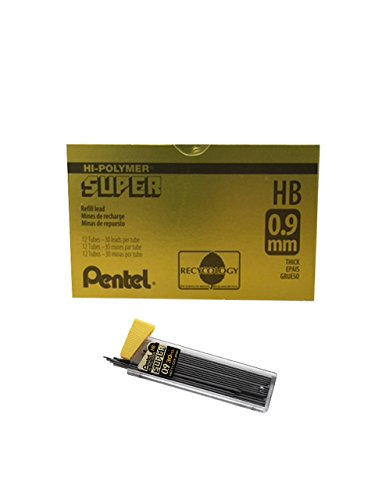 Pentel Super Hi-Polymer Lead, 0.9mm, Medium, HB, 30 Pieces/Tube, Box of 12 (C29-HB) (Pentel Refill Box)