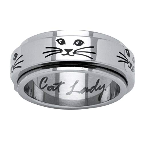 (Cat Lady Black Ion-Plated Stainless Steel Spinner Ring )