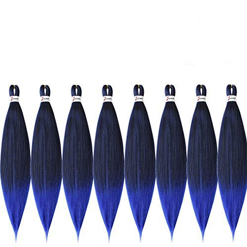8Packs Pre-stretched Braiding Hair Professional Itch Free Synthetic Fiber Ombre Corchet Braids Yaki Texture Hair Extensions (26, T1B/Blue)