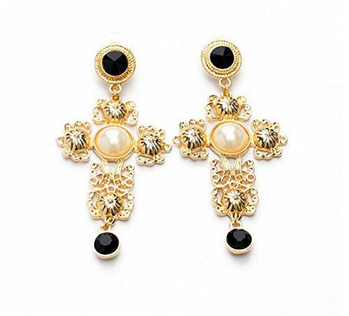 P.phoebus Gold Vintage White Cross Pearl Swarovski Crystal Studs Earrings Black Rhinestones Dangle Charms Hoops For Women Girls White Pearl Cross