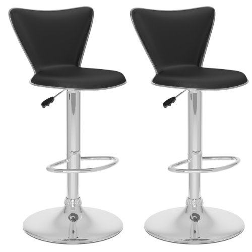 CorLiving B-207-UPD Tall Curved Back Adjustable Bar Stool, Black Leatherette, Set of 2