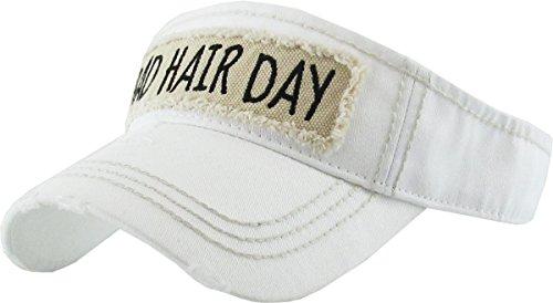 H-201-BHD09 Ponytail Hat Visor - Bad Hair Day (White) Ball In Visor