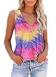 ETCYY Women's Tie Dye Sleeveless Workout Yoga Tank Tops Loose Cute Printed Running Sports Athletic T Shirts