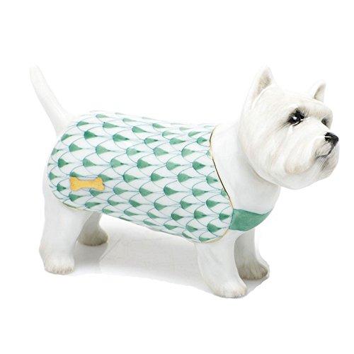 Herend West Highland Terrier Puppy Dog Porcelain Figurine Green Fishnet