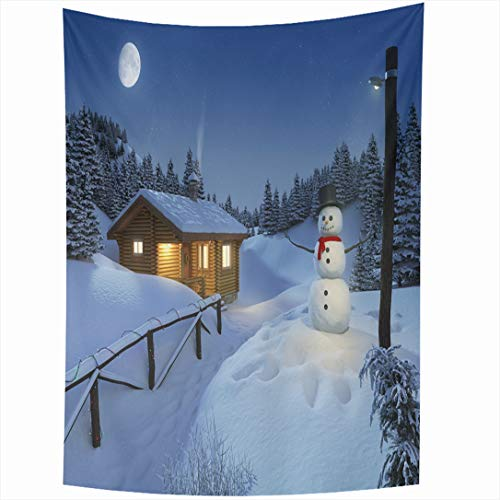 Ahawoso Tapestry 60 x 80 Inches Cozy Blue Christmas Log Cottage Winter Scene Fir Snowman Holidays Parks House Snow Rural Warm Wall Hanging Home Decor Tapestries for Living Room Bedroom Dorm ()
