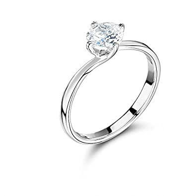 Abelini 9K White Gold Certified I1/HI 100% Natural Round Solitaire Diamond Engagement Rings (Available in 0.10-1.00CT) Gl6ojN