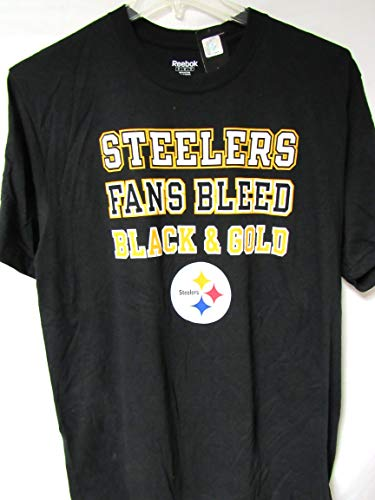 (Reebok Pittsburgh Steelers Mens X-Large Short Sleeve Steelers Fans Bleed Black and Gold T-Shirt AB1 1056)