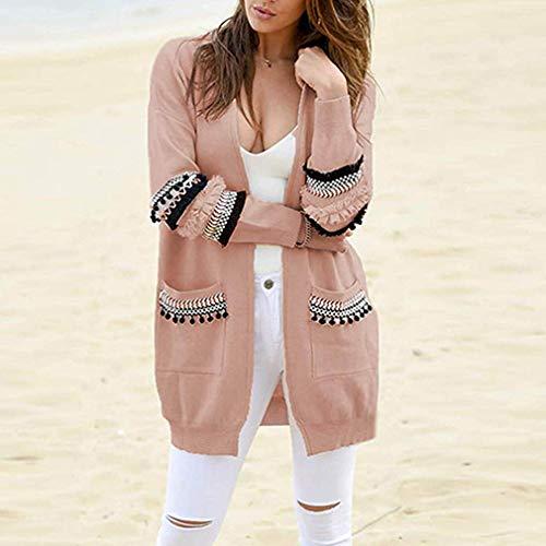 grigio Tascabile Bianco Lungo Pizzo Giacche Donna Cardigan Elegante Patchwork Cappotti Cappotto Juleya xl Maglione Rosa Capispalla S Giacca Casuale Autunno Inverno TnSa4xY
