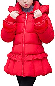 OCHENTA Kids Girls Coat Ruffle Padded Cotton Outwear Winter Clothes for 1-12 Years Old