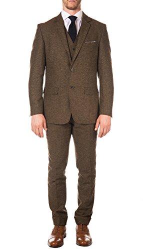 Ferrecci 42S Bradford Cognac Tweed Slim 3pc Suit