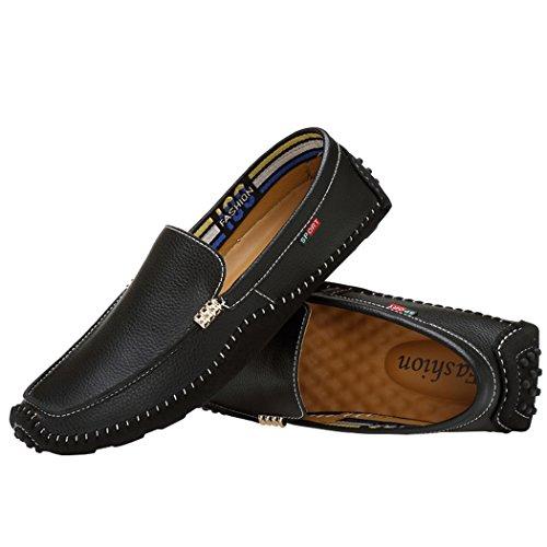 Zon Lorence Heren Leren Sportschoenen Flats Loafers Slip-on En Lace-up Casual Bootschoenen Zwart-slipon