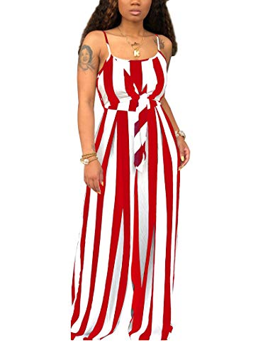 LKOUS Womens' Summer Casual Striped Spaghetti Strap Sleeveless One Piece Loose Wide Leg Pants Suit Jumpsuits Party
