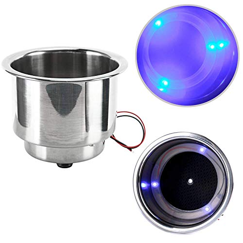 Amarine Made 3 LED Blue Stainless Steel Cup Drink Holder with Drain & LED Blue Marine Boat Rv Camper (4Pcs)