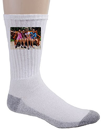 Personalized Printed Crew Socks - Custom Picture and Text Adult Sock Gift Size 9-11 White
