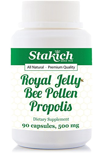Stakich Royal Jelly BEE Pollen Propolis Capsules (90 CAPS, 500 MG) - Top Quality (Royal Jelly 90 Caps)