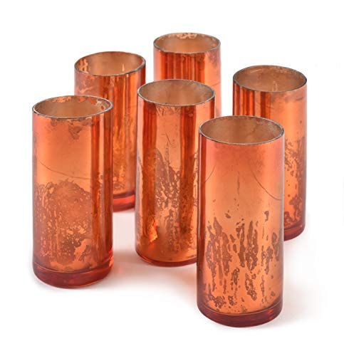 - Serene Spaces Living Antique Copper Cylinder Vase, Handmade Mercury Glass Finish, Measures 4