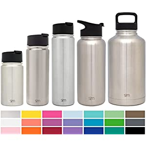 Simple Modern 14oz Summit Water Bottle + Extra Lid - Vacuum Insulated Stainless Steel Wide Mouth Hydro Travel Mug - Powder Coated Double-Walled Flask - Simple Stainless
