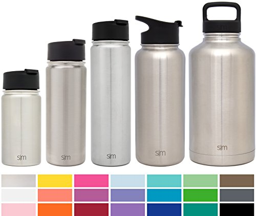Simple Modern 64oz Summit Water Bottle + Extra Lid - Vacuum Insulated Stainless Steel Big Wide Mouth Hydro Travel Growler - Powder Coated Double-Walled Large Flask - Simple Stainless