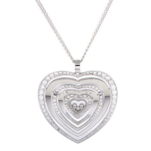 Chopard Happy Diamonds 18K White Gold Floating Diamonds Large Heart Pendant Necklace