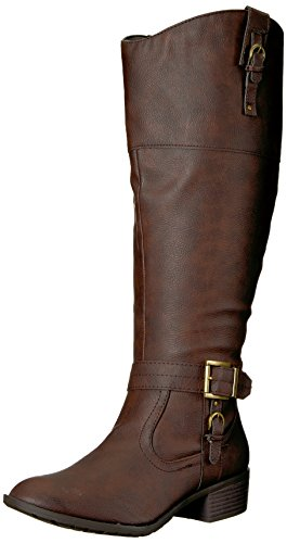 Rampage Women's Ivelia Fashion Knee High Casual Riding Boot, Brown Wide Calf, 7 M ()