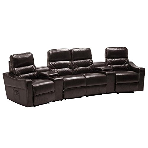 MCombo 7095 Four-In-One Modern Recliner Wall Leather Executive Sofa Chair Set, Brown