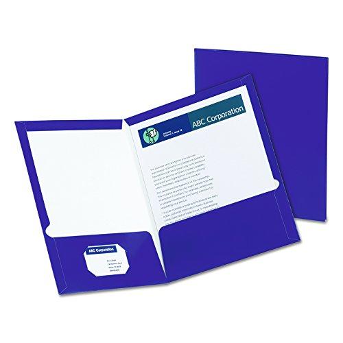 Oxford Showfolio Laminated Twin Pocket Folders, Letter Size, Purple, 25 per Box (51726)