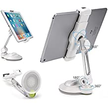 """AboveTEK iPad Suction Cup Holder Tablet Stand, Large Sticky Pad Phone Holder on Smooth Surface Desk Countertop Mirror Window, Swivel Cell Phone Car Holder Tablet Mount 4-11"""" iPhone 5 6 7 iPad Mini Pro"""