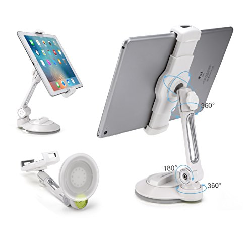 AboveTEK iPad Suction Cup Holder Tablet Stand, Large Sticky Pad Phone Holder on Smooth Surface Desk Countertop Mirror Window, Swivel Cell Phone Car Holder Tablet Mount 4-11'' iPhone 5 6 7 iPad Mini Pro by AboveTEK