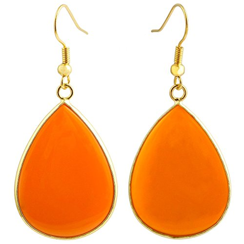 (SUNYIK Women's Orange Crystal Glass Teardrop Hook Dangle Earrings)