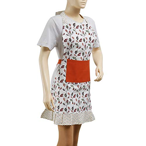 Kitchen Apron for Women & Men, With Pockets, 100% Cotton, Natural, Bib Apron for Cooking, Baking, BBQ and Gardening, Floral Red