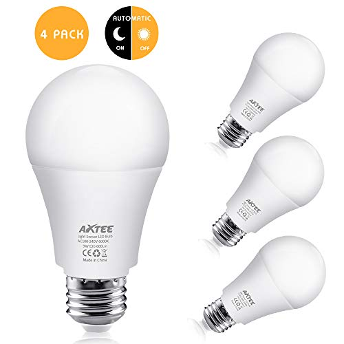 AXTEE Dusk to Dawn Light Sensor Bulbs, 9W LED Light Sensor Bulbs (Auto on/Off), E26/E27 Sensor Bulbs Porch Light, Smart Indoor/Outdoor LED Lamp for Yard Garage, Hallway (Cool White 6000K, 4 Pack)